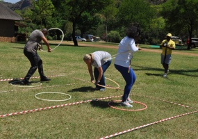 Hula Hoop Jumping Relay Race  fun group game